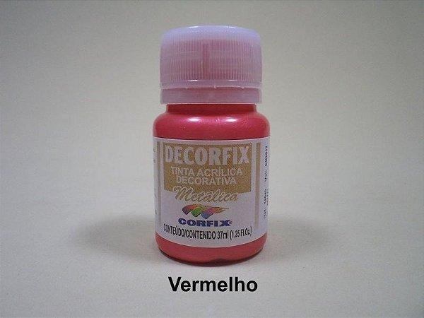 Tinta Acrílica Metálica DECORFIX - 37 ml - Vermelho