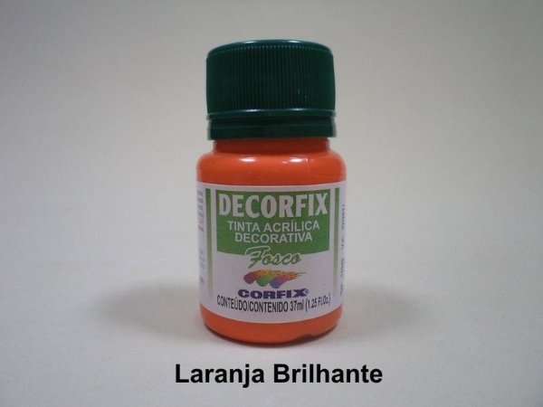 Tinta Acrílica DECORFIX - Fosca - 37 ml. -Laranja Brilhante