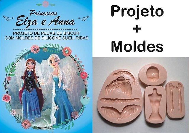 533 - Projeto + Kit Moldes Princ. Frozen Ana  e Elsa