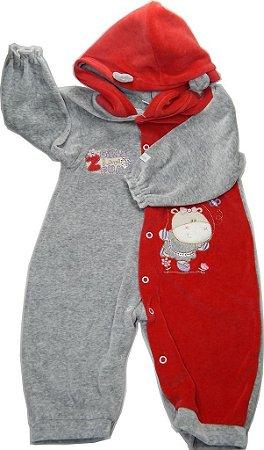 Macacão Bebê Precioso com detalhes bordados  e capuz