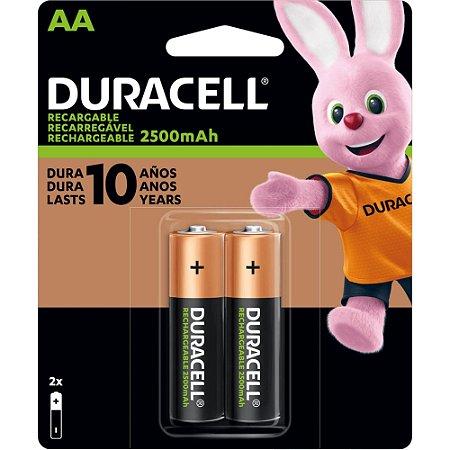 Pilha Recarregável AA 2500-mAh (Cartela c/2 pilhas) DURACELL