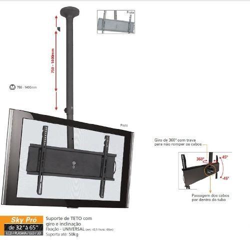 """Suporte de Teto Multivisão Sky Pro M até 65"""" LCD LED Plasma"""