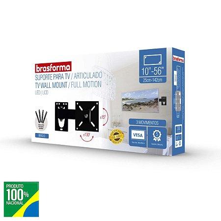 """Suporte Articulado para TV LED, LCD, Plasma, 3D e Smart TV de 10"""" a 56""""  Brasforma BRA3.0"""