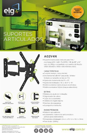 """Suporte TV Articulado ELG A02V4 New para TV`s LCD, LED, Plasma e 3D de 26 a 55"""""""