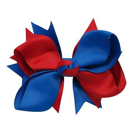 Laço tipo borboleta GG - cód. 17.183 - Azul royal com vermelho