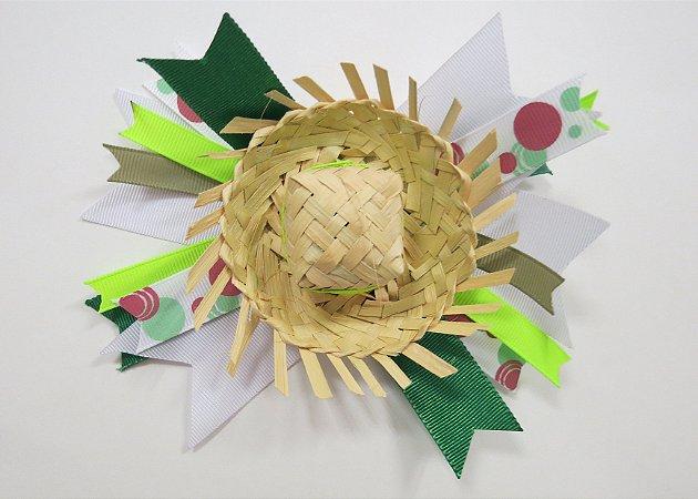Laço de festa junina de fita colorida e chapeu - 13.270 - Verde limão e branco