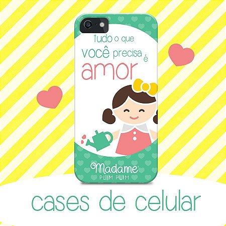 capa para celular arquivo da imagem- Tudo o que você precisa é o amor Madame Plim Plim