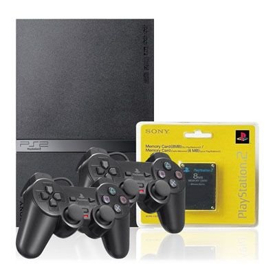 Playstation 2 Slim Desbloqueado (Usado com Leitor Optico Novo), 2 Controles, 1 Memory Card, 8 Jogos Grátis