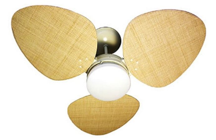 Ventilador de Teto Personalizado Aruba - 3 pás Fibra Buriti Natural - Luminária Drops Opalino