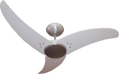 Ventilador de Teto Personalizado Aero - 3 pás Fibra Buriti Provençal - Sem Iluminação (tampa reta)