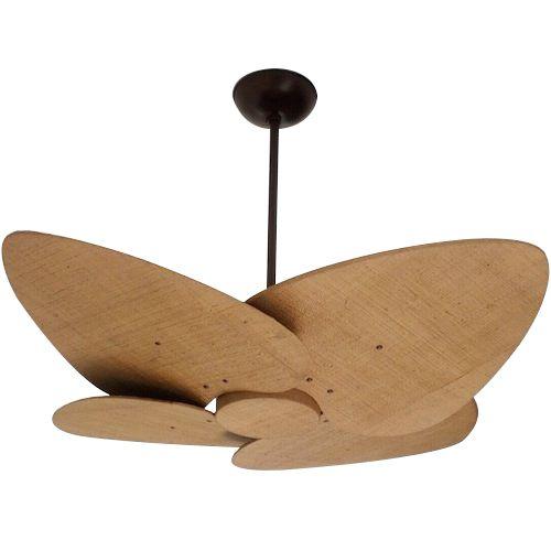 Ventilador de Teto Personalizado Maresias - 4 pás Fibra Buriti Envelhecido - Sem Iluminação (tampa reta revestida)