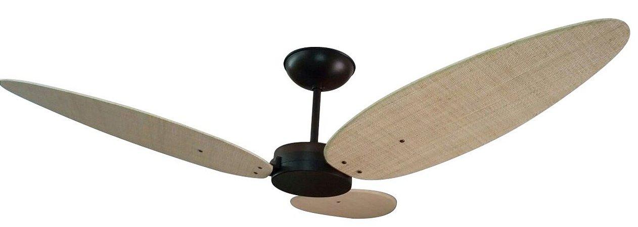 Ventilador de Teto Personalizado Surf - 3 pás Fibra Buriti Natural - Sem Iluminação (tampa reta)