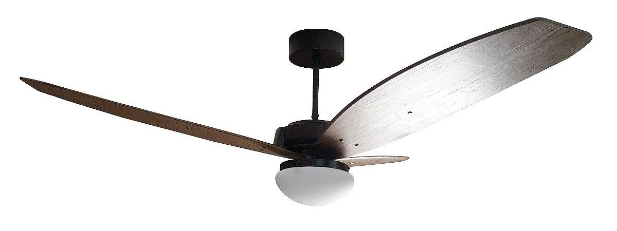 Ventilador de Teto Personalizado Cidade - 3 pás Madeira Nogueira - Luminária Flat Jateado