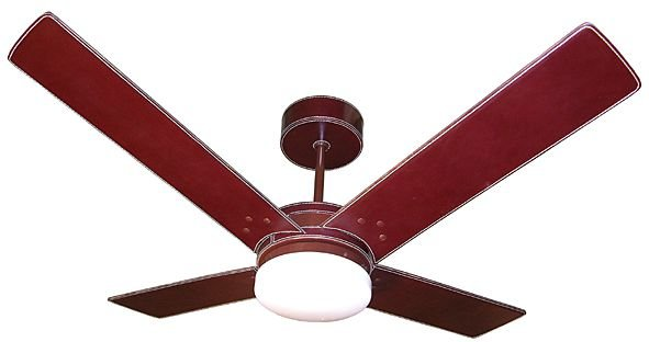 Ventilador de Teto Personalizado Copolla - 4 pás Couro Havana - Luminária Drops Opalino