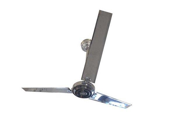 Ventilador de Teto Personalizado Retrô - 3 pás Alumínio Polido - Sem Luminária (motor aparente)