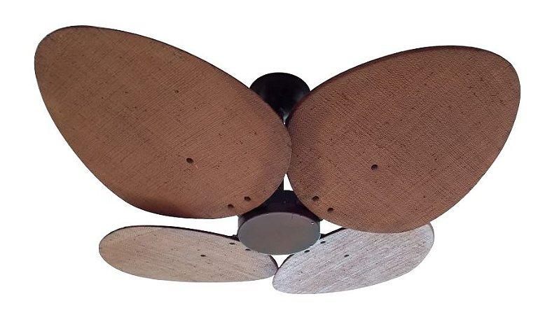 Ventilador de Teto Personalizado Aruba - 4 pás Buriti Envelhecido - Sem iluminação (tampa reta)