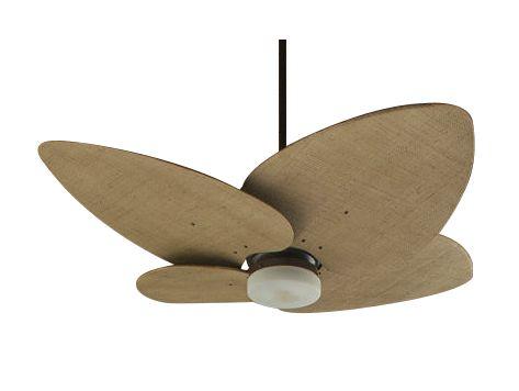 Ventilador de Teto Personalizado Maresias - 4 pás Fibra Buriti Envelhecido - Luminária Drops Jateado