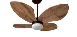 Ventilador de Teto Personalizado Bali - 4 pás Fibra de Coco - Luminária Drops Opalino