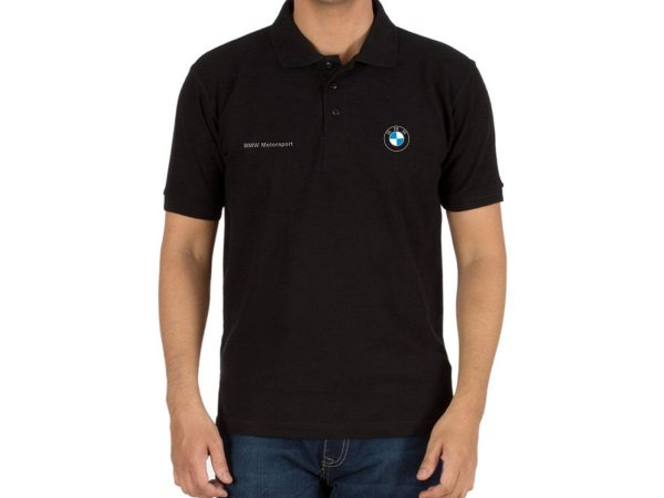 FR199P - Camisa Polo Piquet - BMW MOTORSPORT - Logo prata - Estampa FRONTAL