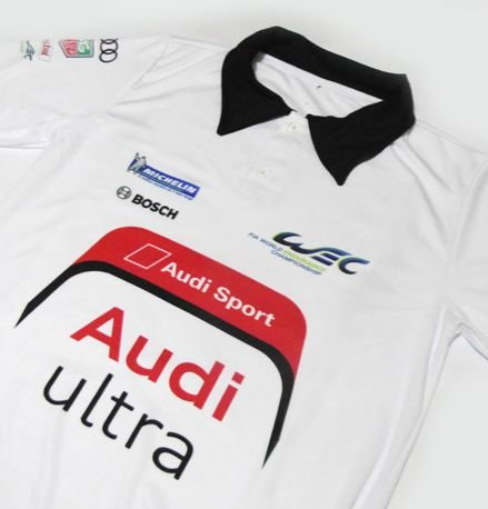 ES147 - Camisa Pólo Dry Fit - Estampa AUDI ULTRA TEAM WEC