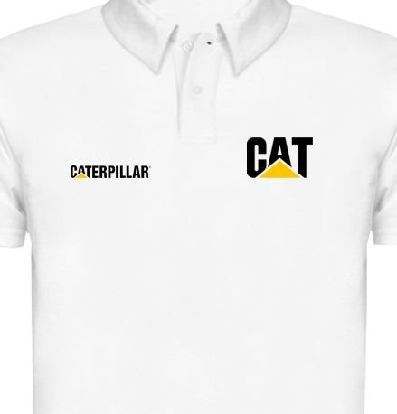 FR044 - Camisa POLO PIQUET - Estampa CAT CATERPILLAR