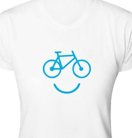 ST091 - Baby Look - Estampa Bike Azul em recorte a laser