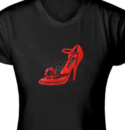 ST048 - Baby Look - Estampa Sapato Vermelho em tecido de recorte a Laser / Strass