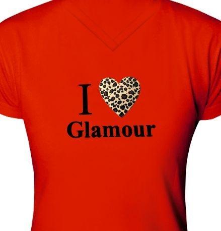 ST045 - Baby Look - Estampa I Love Glamour em Tecido de recorte a Laser