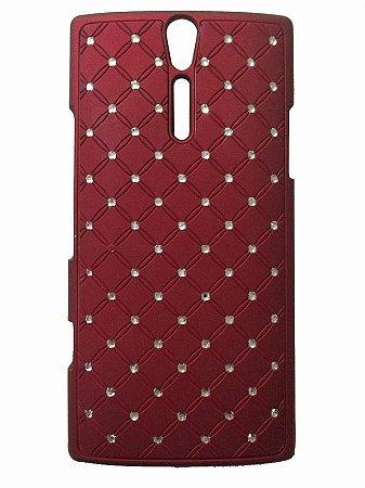 Capa Case Brilho Vermelho com Strass Sony para Xperia S LT26i