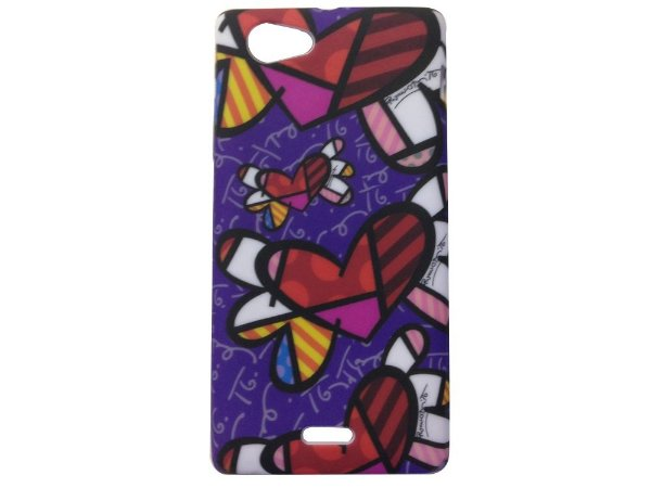 Capa Case Sony Xperia J Romero Britto Flying Hearts .