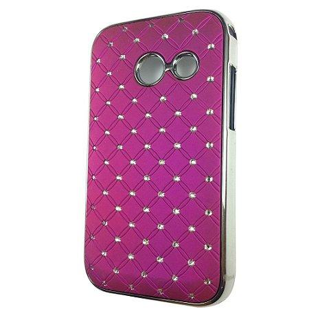 Capa Case Brilho Roxo com Strass para Samsung Galaxy Ace Duos S6802