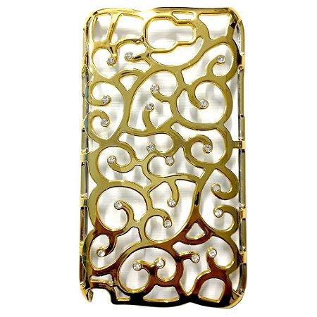 Capa Arabesco Dourado com Strass para Samsung Galaxy Note 2