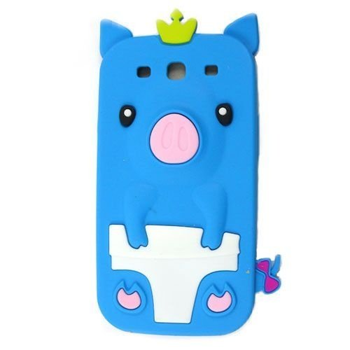 Capa Case Porco Rei Azul para Samsung Galaxy S3