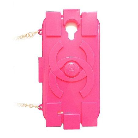 Capa Bolsa Chanel Lego Pink para Samsung Galaxy S4
