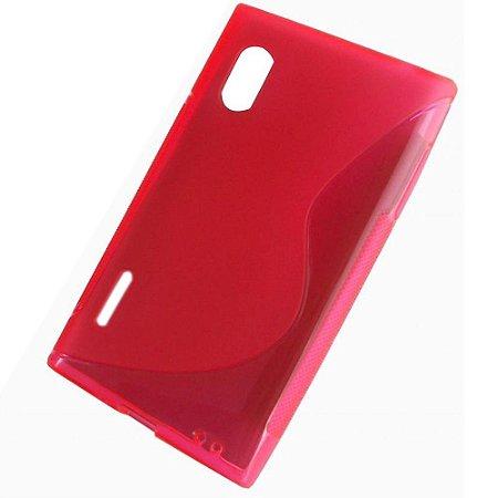 Capa Case S Type de TPU Premium para  LG Optimus L5 - Vermelho