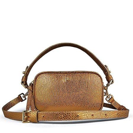 Pochete bolsa Milla em couro bronze