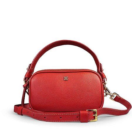 Pochete bolsa Milla em couro vermelho