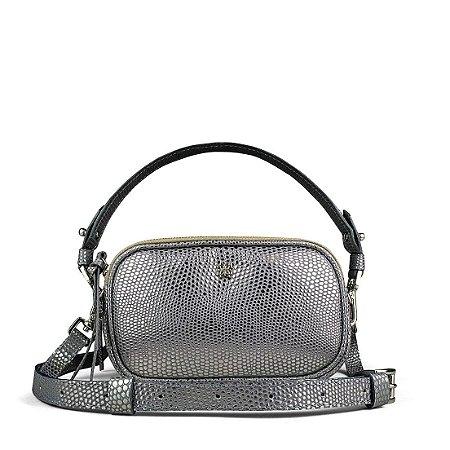 Pochete bolsa Milla  em couro prata