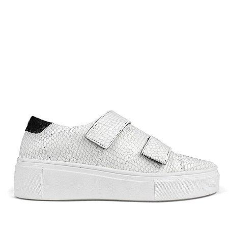 Sneaker  em couro escamado branco mod482