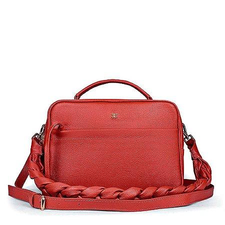 Bolsa Manu em couro vermelha