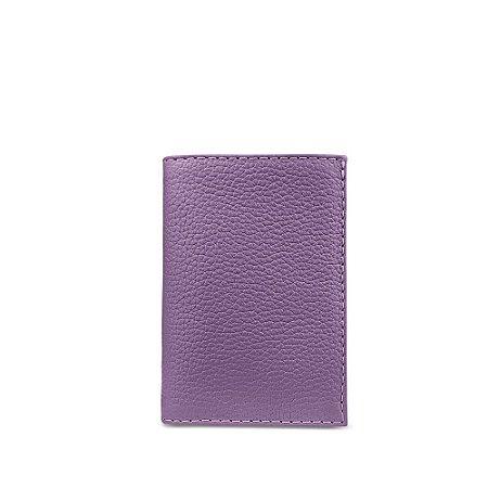 Carteira flip em couro lilas personalizável