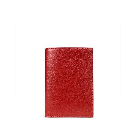 Carteira flip em couro vermelho personalizável