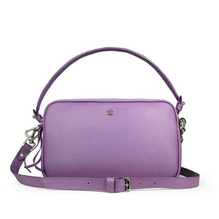 Bolsa Milla M em couro lilas