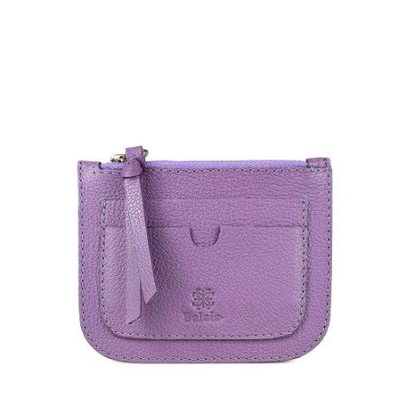 Porta cartão personalizável em couro lilas