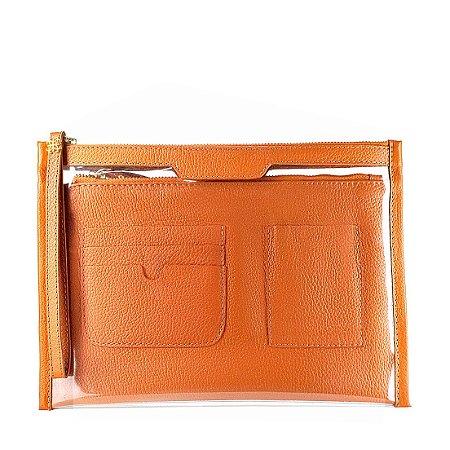 Organizador de bolsa personalizavel em couro ocre