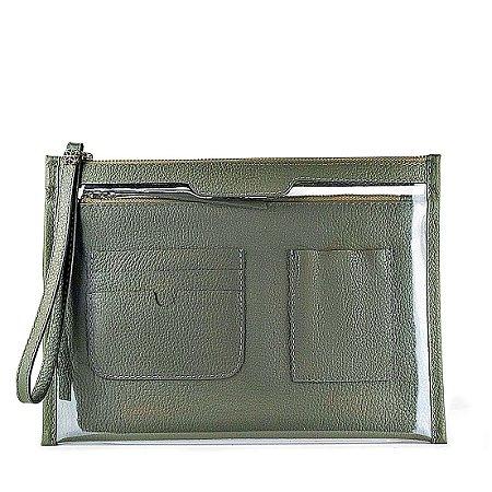 Organizador de bolsa personalizável em couro musgo
