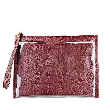 Organizador de bolsa personalizável em couro bordo