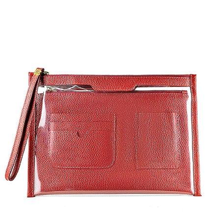 Organizador de bolsa personalizável em couro vermelho