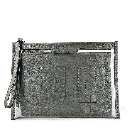Organizador de bolsa personalizável em couro chumbo