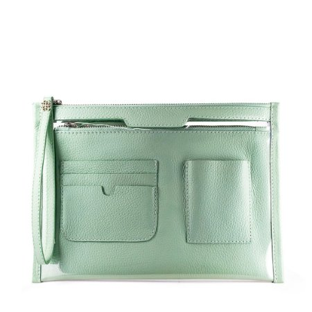 Organizador de bolsa personalizável em couro menta